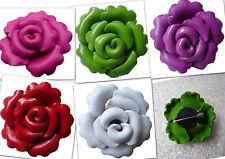 Brosche Blume Rose Blumenbrosche Rosenbrosche Ansteckblume Leder Blumenbrosche