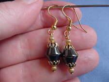 (EE-319) diamond shaped Black hematite bead gold wire dangle pair of EARRINGS
