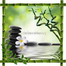 Sticker autocollant Cadre bambou Fleur et Galets ZenRef 7188 7188
