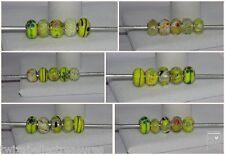 5 X mixto Amarillo encanto perlas de Murano Murano Etc encaja pulsera Europea