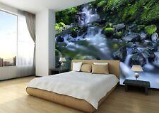 Waterfall Nature Rock Tree Sky Photo Wallpaper Wall Mural Home Bedroom Deco