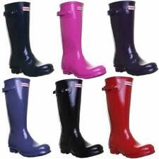 Hunter Original Kids Gloss Patent Junior Boots Size UK 1 - 5 Euro 33 - 38
