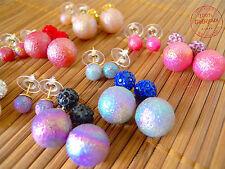 4 Orecchini Bubble Donna Ragazza Earrings Colorati Doppio Orecchino Abbinato