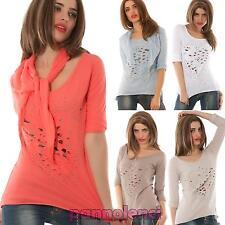 Maglia donna maglietta t-shirt cuore strappi borchie strass nuovo AS-5233