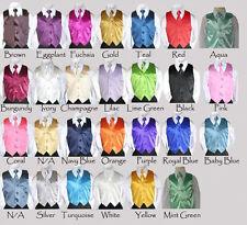 New Boys Vest & Tie Set Zipper Necktie Satin Made in USA Wedding Party