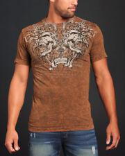 Affliction SHREDDED T-Shirt L 2XL NWT NEW Skulls Brown XXL