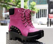 botas bajo plataforma tacón alto 6 cm rosa cordones como piel 9016