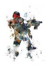 ART PRINT GIUDICE DREDD illustrazione, supereroi, fumetti, film, Wall Art, Splatter