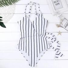 Women Stripe One-Piece Swimsuit Monokini Beach Swimwear Bikini Set Bathing Suit