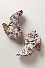 Highway Rambler Booties Canvas Ikat Ankle Boots Heels Shoes Anthropologie, Sz 39
