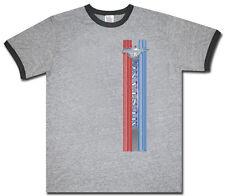 Ford Mustang racing stripe gray men's size ringer tee shirt t-shirt