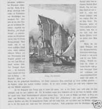 Danzig Gdansk Krantor Hohe Tor Stockturm HOLZSTICH 1880