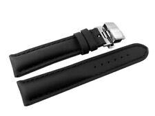 Uhrenband - stark gepolstert - hydrophobiert - glatt - schwarz - 18,20,22,24 mm