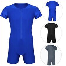 Mens Thong Bodysuit High Cut Sexy Lingerie Pajamas Zipper Boxer Briefs Underwear