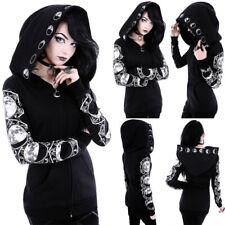 Women Black Gothic Punk Hoodie Sweatshirt Hooded Moon Printed Pullover Tops Coat