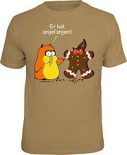 Fun T-Shirt Hamster vs. Lebkuchen Er hat angefangen Shirt Geschenk geil bedruckt