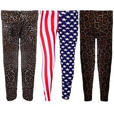 Children's Leopard Stars USA Flag Union Jack Print Girls Trousers Leggings
