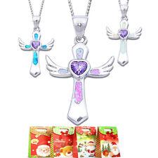 Opal Kreuz Anhänger mit Kette Halskette Echt Silber 925 Geschenkidee für Kinder