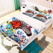 3D Blumen Zebra 77 Bett Kissenbezüge steppen Duvet Decken Set Single DE Carly