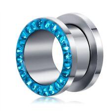 "PAIR Teal Epoxy Stainless Steel Crystal Ear Gauges Ear Plugs Tunnels 2G - 5/8"""