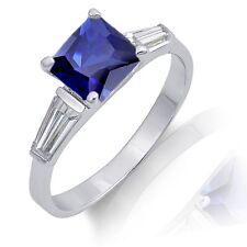 Princess Cut Tanzanite w/ Baguette Cut CZ Sterling Silver Ring Sizes 5 - 10