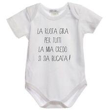 BODY tutina bimbo neonato DM29 La Ruota della Fortuna Gira per Tutti 100% cotton