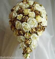 Wedding Flowers Bride Shower Bouquet Rose & Diamante Teardrop Posy