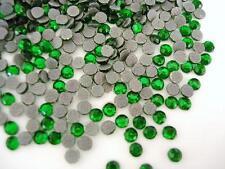 144 Hot Fix Iron On Round Rhinestone/Fabric *FREE SHIP* SS16 4mm-Emerald Green