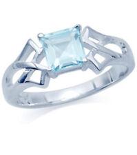 Sky Blue Topaz Gemstone 1 carat Celtic Knot Sterling Silver Ring