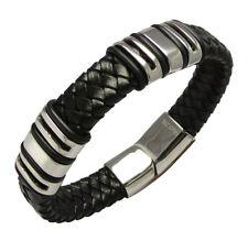 Herren Damen Lederarmband schwarz Edelstahl Armband 6x Beads Magnetverschluß