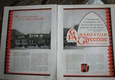 1928 GPA Radiator Glycerine Buick Car Garage DMS Motor Repair Two Page Ad