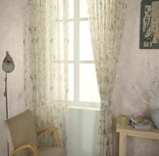 Cream Shabby Chic Oriental Bird Sheer Voile Curtain Panel Eyelet Slot Top