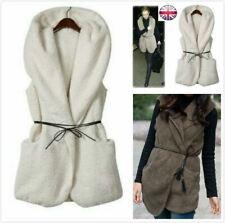 Womens Ladies Faux Fur Belted Coat Sleeveless Hooded Jacket Vest Parka Outwear