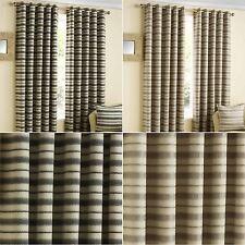 Contemporary Striped Eyelet Ready Made Curtain Pair