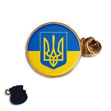 UKRAINE UKRAINIAN FLAG COAT OF ARMS  ENAMEL LAPEL PIN BADGE GIFT
