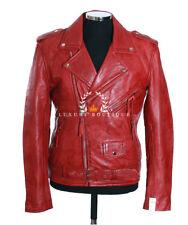 Brando Napa Color Rojo Para Hombre Moto Cruiser Real ovejas Moda cuero chaqueta