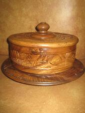 Vintage Teak Cake Saver Platter Server Storer Carved Wood Pedestal Wooden Lid