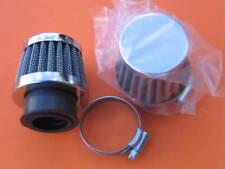 2x 28mm ID Air Filters Clamp Chrome on Filter Pod Chrome Kawasaki AE50 AR50 SS50