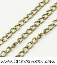 1/5/10/25 m chaine au mètre métal bronze 4 x 2,3 x0,7 mm collier bracelet perle