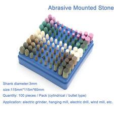 100X 3mm Tige abrasif pierre montée meule Tête pour Dremel Rotary Kit