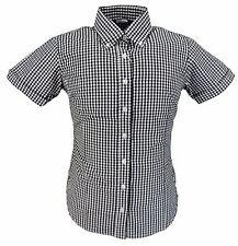 RELCO rétro Burgundy tessuto a quadretti donna con bottoni manica corta camicie