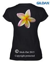 Frangipani Ladies T-Shirt Australian Printed 100%Cotton flower pink yellow white