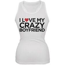 I Love My Crazy Boyfriend White Juniors Soft Tank Top