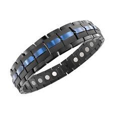 ProExl Best Mens Magnetic Titanium Bracelet Black Blue Adjuster and Gift Box