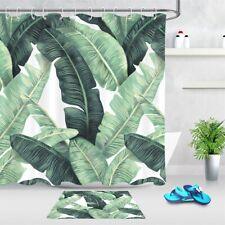 Tropical Green Banana Leaves Fabric Shower Curtain Set & Hooks Bathroom Decor