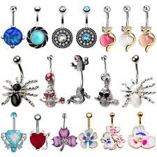 14G Popular Opal Gem Navel Belly Ring Rhinestone Button Bar Barbell Body Jewelry