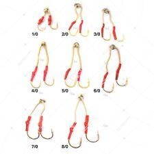 40pcs Fishing Gold 4x Assist Hooks Size 1/0 2/0 3/0 4/0 5/0 6/0 7/0 8/0 Bulky PK