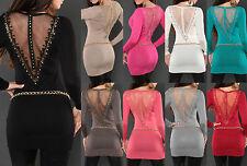 Sexy KouCla Longpulli mit Stickerei & Nieten Longpullover Pulli Minikleid Kleid