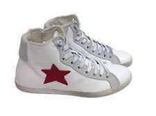 scarpe sneakers alte uomo pelle bianco ghiaccio Via Condotti stella rossa Nuovo