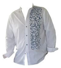 Hemden Herren Freizeithemden Business  Langarm 100%Baumwolle Bedruckt Weiß Blau